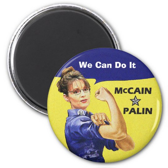 """""""change is coming"""" Mccain / Palin Republican Party 6 Cm Round Magnet"""