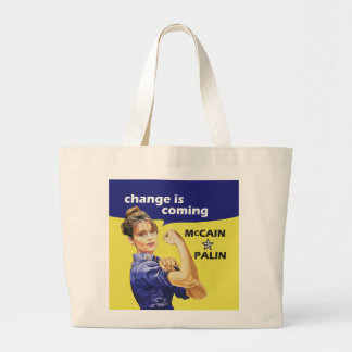 """change is coming"" Mccain / Palin Republican Party Large Tote Bag"