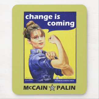 """change is coming"" Mccain / Palin Republican Party Mouse Pad"