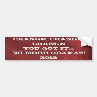Change No More Obama 2012 Bumper Sticker