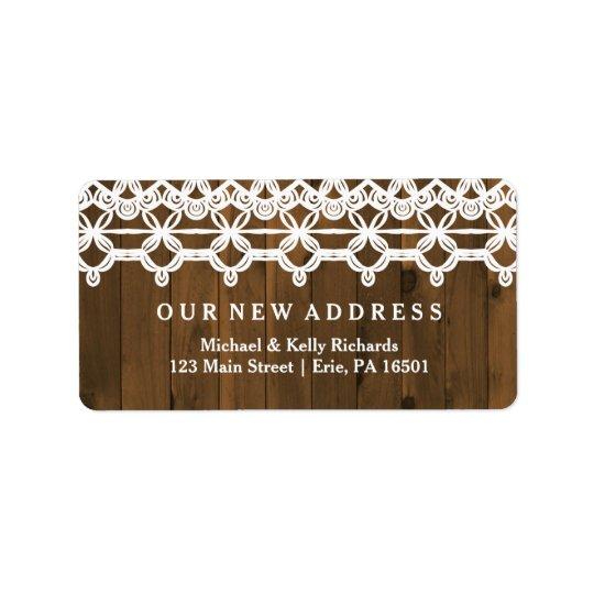 Change of Address Brown Rustic Wood and Lace Label