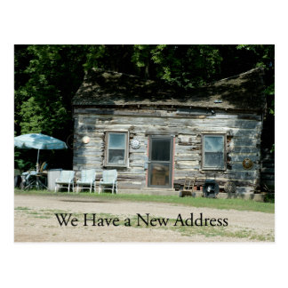 Change of Address Card: Log Cabin Postcard