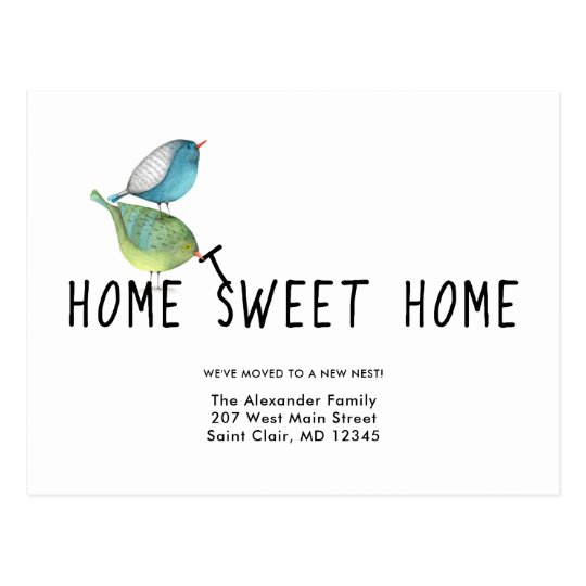 Change of Address Cute Birds Home Sweet Home