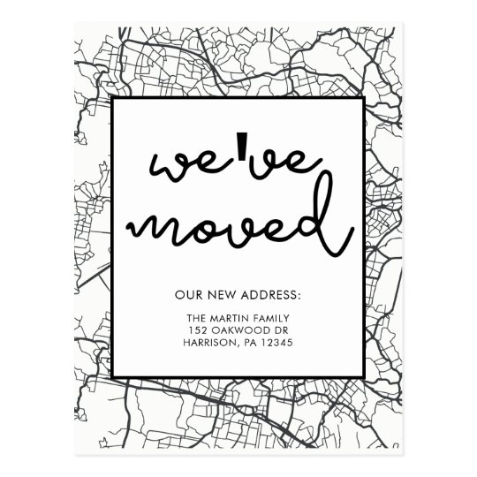Change of Address Map Design Black and White
