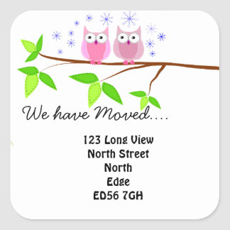 Change of address owls on a branch square sticker