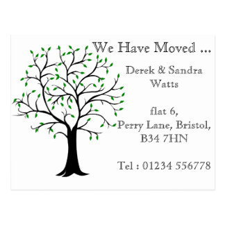 Change of address postcard we have moved tree
