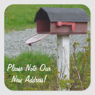 Change of Address Rural Country Mailbox Square Sticker