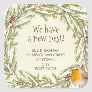 change of address sticker robin christmas winter