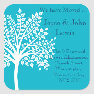 Change of Address Stickers family tree teal