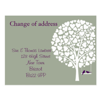 Change of address  tree with bird green background postcard