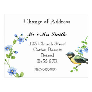 Change of address watercolour bird postcard