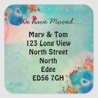 Change of address watercolour floral square sticker