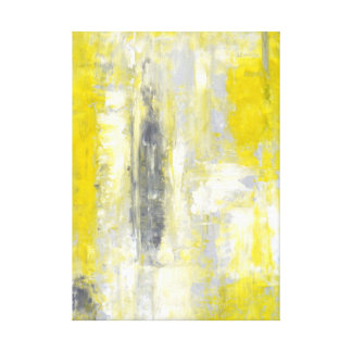 'Change of Mind' Grey and Yellow Abstract Art Canvas Prints
