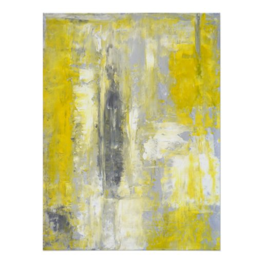 'Change of Mind' Grey and Yellow Abstract Art