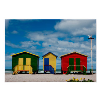 Change Rooms. Muizenberg Beach, Cape Town Poster