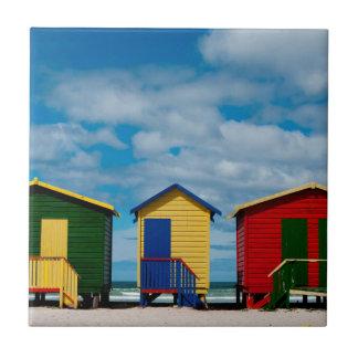 Change Rooms. Muizenberg Beach, Cape Town Tile