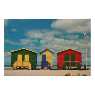 Change Rooms. Muizenberg Beach, Cape Town Wood Print