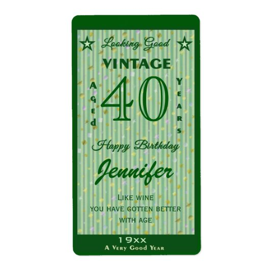 Change the Age Birthday Wine Personalised Green Shipping Label