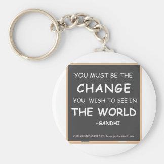 CHANGE THE WORLD-GANDHI BASIC ROUND BUTTON KEY RING