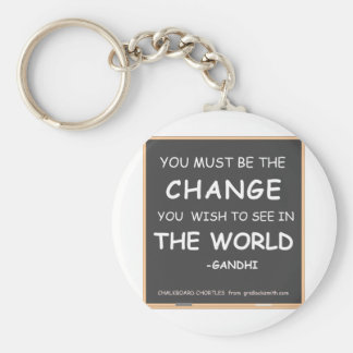 CHANGE THE WORLD-GANDHI KEY RING