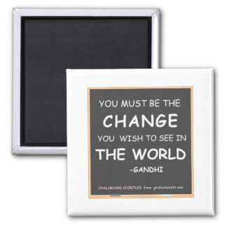 CHANGE THE WORLD-GANDHI REFRIGERATOR MAGNET