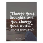 """Change Your Thoughts"" Cursive Quote Poster"
