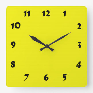 Changeable Numbered Bright Neon Yellow Clock