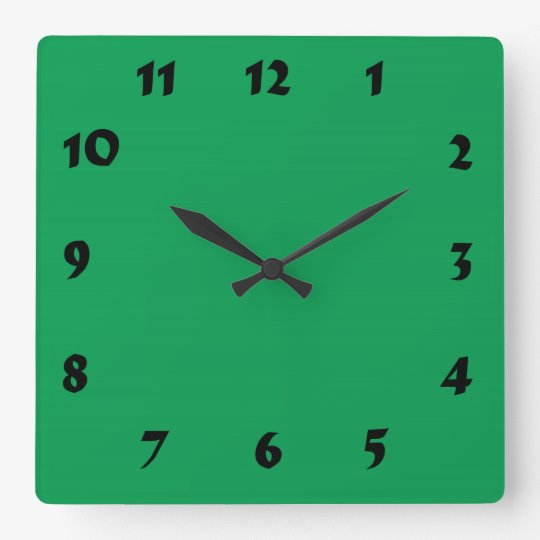 Changeable Numbered Medium Green Clock