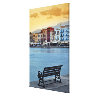 Chania at dusk, Chania, Crete, Greece Canvas Print