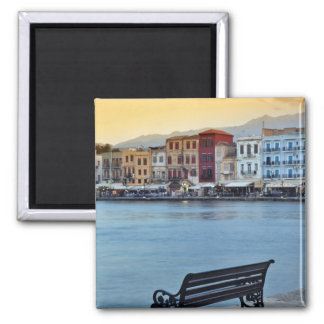 Chania at dusk, Chania, Crete, Greece Square Magnet