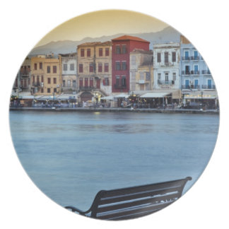 Chania at dusk, Chania, Crete, Greece Plate
