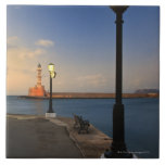 Chania Harbour and Venetian lighthouse at sunset Large Square Tile