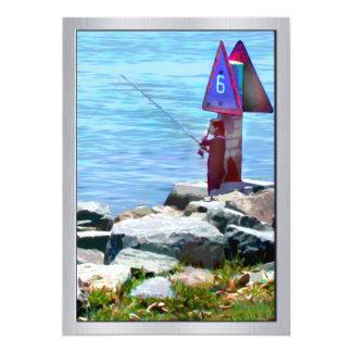 Channel Fishing Near the Harbor 13 Cm X 18 Cm Invitation Card