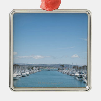 channel in harbor on a sunny day with blue sky Silver-Colored square decoration