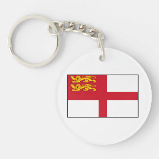 Channel Islands - Sark Flag Double-Sided Round Acrylic Key Ring