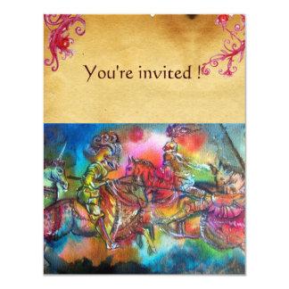 CHANSON DE ROLAND/ COMBAT OF KNIGHTS IN TOURNMENT 11 CM X 14 CM INVITATION CARD