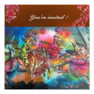 CHANSON DE ROLAND/ COMBAT OF KNIGHTS IN TOURNMENT 13 CM X 13 CM SQUARE INVITATION CARD