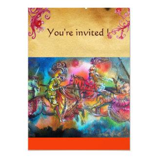 CHANSON DE ROLAND/ COMBAT OF KNIGHTS IN TOURNMENT 13 CM X 18 CM INVITATION CARD