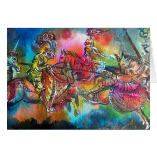 CHANSON DE ROLAND/ COMBAT OF KNIGHTS IN TOURNMENT GREETING CARD