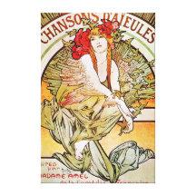 Chansons D'aieules Vintage Theatre Advertisement Gallery Wrap Canvas