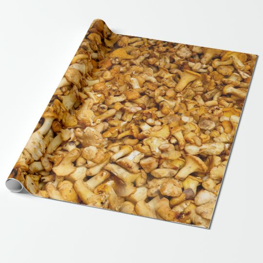 Chanterelles mushrooms wrapping paper