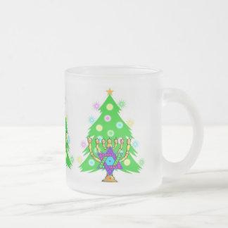 Chanukah and Christmas Frosted Glass Coffee Mug