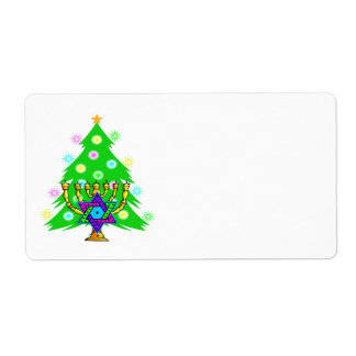 Chanukah and Christmas Together Shipping Label