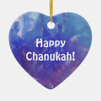 Chanukah Aqua Purple Painting Heart Ornament