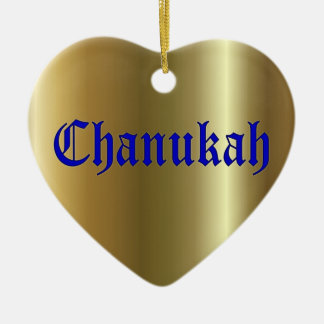 Chanukah Blue Golden Heart Ornament