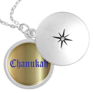 Chanukah Blue Golden Round Silver Plated Locket