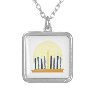 Chanukah Candles Square Pendant Necklace