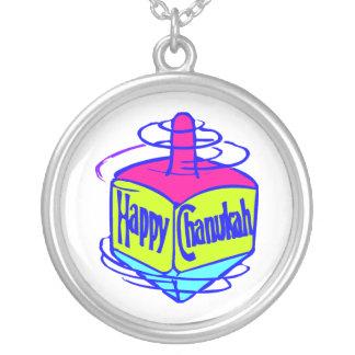 Chanukah Dreidel Silver Plated Necklace