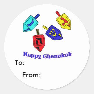 Chanukah Dreidels Classic Round Sticker