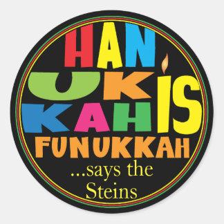 "Chanukah/Hanukkah ""HanukkahFunukka"" Stickers Round"